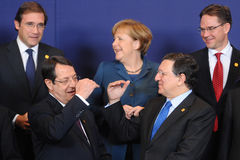 Family photo - European Council. Angela Merkel, the federal chancellor of Germany, Jose Manuel Barroso, the president of the European Commission, Nicos Stock Photos