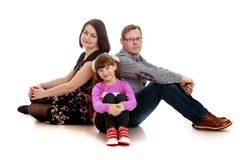 Family photo mom dad and daughter Stock Photography