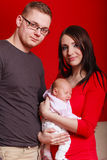 Family photo of mother, baby and father Stock Photos