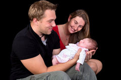 Family photo with newborn baby Stock Photography