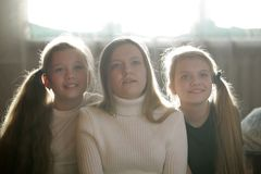 Family photo of sisters - three teen girls at home. Close up Royalty Free Stock Photos