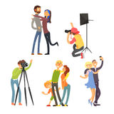 Family Photo in Studio. Vector Illustration Set Royalty Free Stock Image