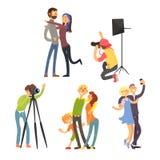 Family Photo in Studio. Vector Illustration Set Royalty Free Stock Image