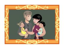 Family photo in wooden frame. royalty free illustration