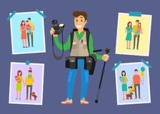 Family Photograph Freelancer, Samples of Pictures. Family photograph freelancer and samples of his pictures in portfolio vector poster. Modern digital equipment vector illustration