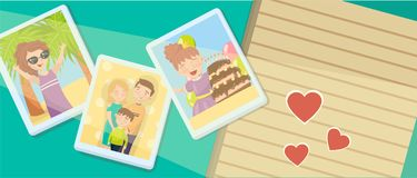 Family photos, best moments on pictures, portraits of family members vector Illustration concept for web banner design stock illustration