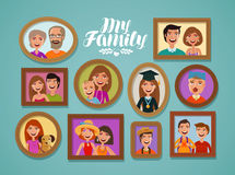 Family photos in frames. People, parents and children concept. Cartoon vector illustration Stock Photography