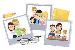 Family photos set. Family photos set lying on desk on white Royalty Free Stock Photo