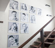 Family photos on the wall Royalty Free Stock Photography