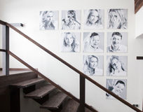 Family photos on the wall Royalty Free Stock Image