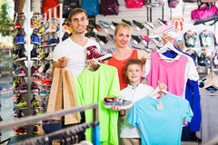 Family picking various clothing Stock Photo