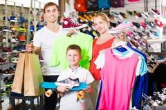 Family picking various clothing Stock Photo