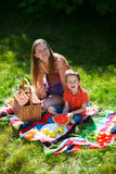 Family picnic. Mother and son having picnic on summer sunny day Royalty Free Stock Photos