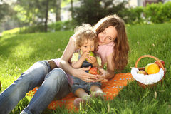 Family on picnic. Family having picnic in summer park royalty free stock photos