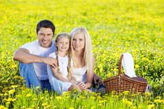 Family Picnic. A happy family at a picnic in a field royalty free stock images