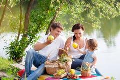 Family on picnic. Near the lake Royalty Free Stock Image