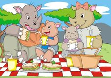 Family Picnic. A rhinoceros family enjoying their lunch time together vector illustration