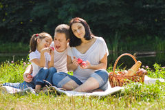 Family picnic with apples Royalty Free Stock Photo