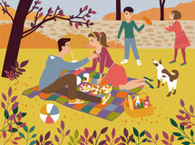 Family picnic in a autumn park. Autumn outdoor background with four people Royalty Free Stock Photos