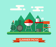 Family Picnic or Barbecue Concept Vector Landscape Royalty Free Stock Photo