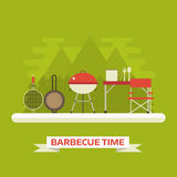 Family Picnic or Barbecue Concept Vector Landscape Royalty Free Stock Photos