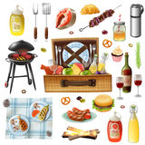Family Picnic Barbecue Realistic Icons Set Royalty Free Stock Image