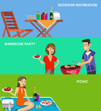 Family picnic. Bbq party. Food and barbeque. Banner set. Vector character people on picnic or Bbq party. Food and barbeque, summer and grill. Chef men cooking vector illustration