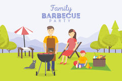 Family picnic. Bbq party. Food and barbeque, summer and grill. Vector illustration Stock Image