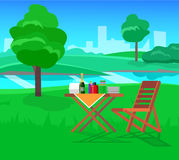 Family picnic. Bbq party. Food and barbeque. Vector picnic or Bbq party. Food and barbeque stock illustration