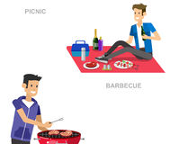 Family picnic. Bbq party. Food and barbeque. Vector character man on picnic or Bbq party. Food and barbeque, summer and grill. Vector barbeque party royalty free illustration