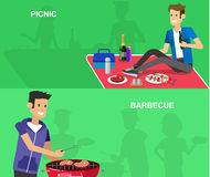 Family picnic. Bbq party. Food and barbeque. Vector character man on picnic or Bbq party. Food and barbeque, summer and grill. Vector barbeque party stock illustration