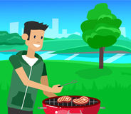 Family picnic. Bbq party. Food and barbeque. Vector character men on picnic or Bbq party. Chef men cooking steaks on grill. Food and barbeque, summer and grill vector illustration