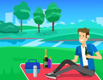 Family picnic. Bbq party. Food and barbeque. Vector character men on picnic or Bbq party. Food and barbeque, summer picnic . Vector picnic party, illustration vector illustration