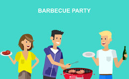 Family picnic. Bbq party. Food and barbeque. Vector character people on picnic or Bbq party. Food and barbeque. Chef men cooking steaks on grill stock illustration