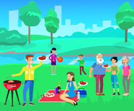 Family picnic. Bbq party. Food and barbeque. Vector character people on Family picnic or Bbq party. Chef men cooking steaks on grill. Food and barbeque, summer royalty free illustration