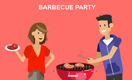 Family picnic. Bbq party. Food and barbeque. Vector character people on Family picnic or Bbq party. Chef men cooking steaks on grill. Food and barbeque, summer stock illustration