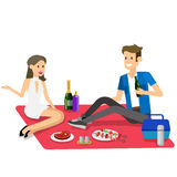 Family picnic. Bbq party. Food and barbeque. Vector character people couple love on Family picnic or Bbq party. Food and barbeque, summer and grill. Vector stock illustration