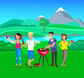 Family picnic. Bbq party. Food and barbeque. Vector character people on picnic or Bbq party. Food and barbeque, summer and grill. Vector barbeque party vector illustration