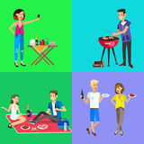 Family picnic. Bbq party. Food and barbeque. Vector character people on picnic or Bbq party. Food and barbeque, summer and grill. Vector barbeque party stock illustration