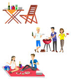 Family picnic. Bbq party. Food and barbeque. Vector character people on Family picnic or Bbq party. Food and barbeque, summer and grill. Vector barbeque party vector illustration