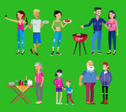 Family picnic. Bbq party. Food and barbeque. Vector character people on Family picnic or Bbq party. Food and barbeque, summer and grill. Vector barbeque party stock illustration