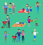 Family picnic. Bbq party. Food and barbeque. Vector character set, people on Family picnic or Bbq party. Food and barbeque, summer and grill vector illustration