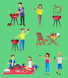 Family picnic. Bbq party. Food and barbeque. Vector character set, people on Family picnic or Bbq party. Food and barbeque, summer and grill royalty free illustration