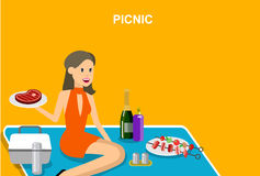 Family picnic. Bbq party. Food and barbeque. Vector character women men on picnic or Bbq party. Food and barbeque, summer picnic . Vector picnic party stock illustration
