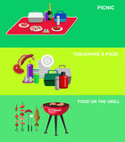 Family picnic. Bbq party. Food and barbeque. Vector object for picnic or Bbq party. Food and barbeque, summer and grill icons stock illustration