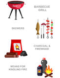 Family picnic. Bbq party. Food and barbeque. Vector  picnic or Bbq party. Food and barbeque, summer and grill icons. Vector barbeque party and grill food Stock Image
