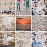 Family picnic on a beach collage. Family picnic on a beach at sunset collage Stock Images
