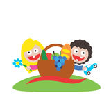 Family picnic boy and girl art logo Royalty Free Stock Photos