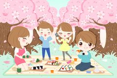 Family at picnic. Cartoon family at picnic with cherry blossoms royalty free illustration
