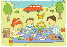Family picnic. Child's hand drawing vector illustration on happy family having picnic of meadow.Additional format vector format EPS8 vector illustration